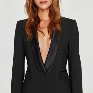 * New ZARA $119 satin lapel tuxedo blazer jacket M